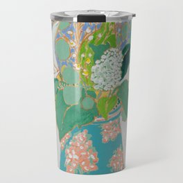 Lily and Eucalyptus Bouquet in Blue and Peach Floral Vase Travel Mug