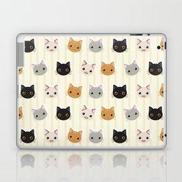 Cute Kitten & Stripes Pattern Laptop & iPad Skin