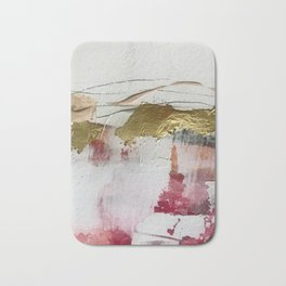 Untranslated Stars: a minimal, abstract piece in gold, pink, and white by Alyssa Hamilton Art Bath Mat