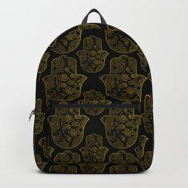 Gold Paisley Hamsa Hand pattern Backpack