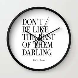"Fashion Quote ""Don't Be like the Rest Of Them Darling"" Fashion Print Fashionista Girl Bathroom Decor Wall Clock"