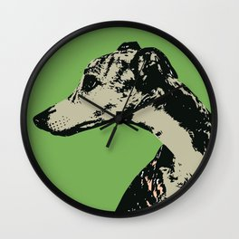 Greyhound art print Wall Clock