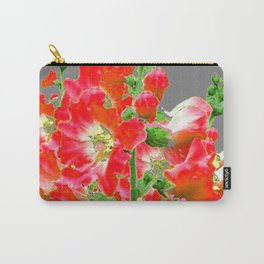 Charcoal Grey Saffrron Red Holly Hocks Pattern Flora Art Carry-All Pouch