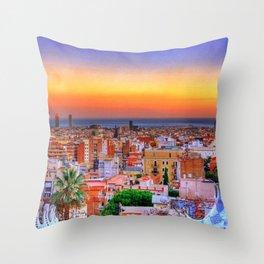Barcelona Sunset Throw Pillow