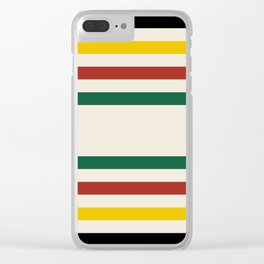 Rustic Lodge Stripes Black Yellow Red Green Clear iPhone Case