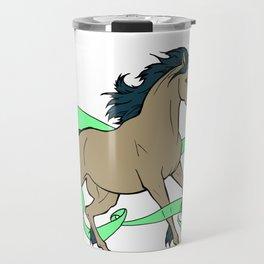 Magical Unicorn (Tan and Navy) Travel Mug