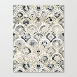 Monochrome Art Deco Marble Tiles Canvas Print