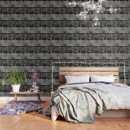 Animal Print Leopard Silver and Black Wallpaper