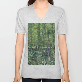 1887-Vincent van Gogh-Trees and undergrowth Unisex V-Neck