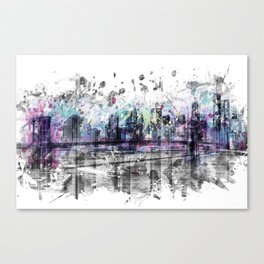 Modern Art NEW YORK CITY Skyline | Splashes Canvas Print