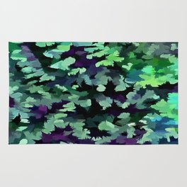Foliage Abstract Pop Art In Jade Green and Purple Rug