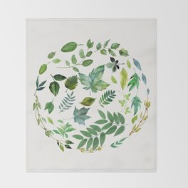 Circle of Leaves Throw Blanket