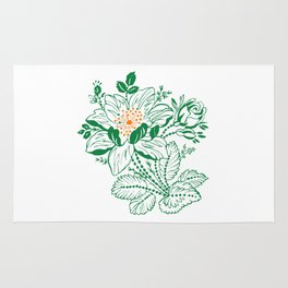 Japanese Style Green with Orange Flowers Rug