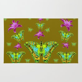 PURPLE LILIES BLUE-GREEN-YELLOW PATTERNED MOTHS Rug