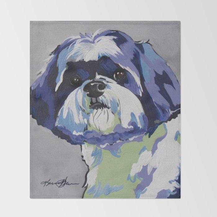 Shih Tzu Pop Art Pet Portrait Throw Blanket