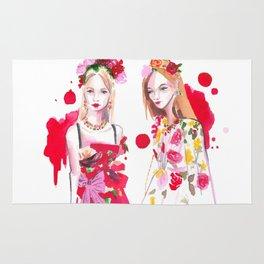 D&G Red Florals Rug