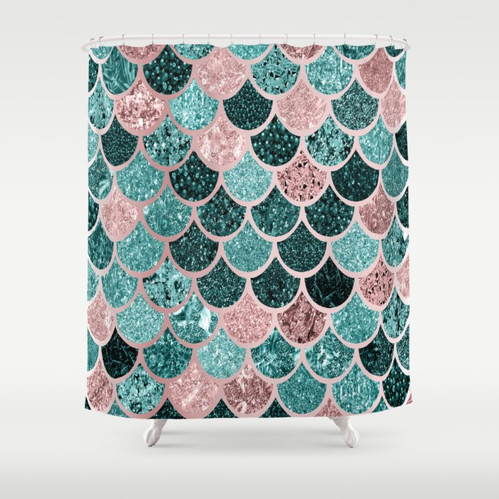 Mermaid Fish Scales, Pink, Rose Gold, Teal, Emerald Green Shower ...