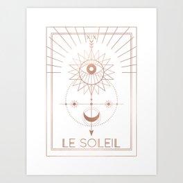 Le Soleil or The Sun Tarot White Edition Art Print