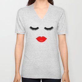 Lips and Lashes Unisex V-Neck