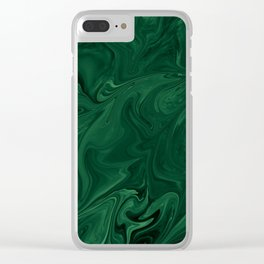 Modern Cotemporary Emerald Green Abstract Clear iPhone Case