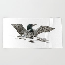 Morning Stretch - Common Loon Beach Towel