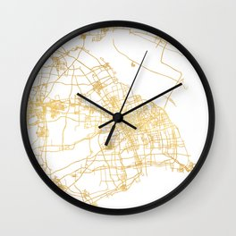 SHANGHAI CHINA CITY STREET MAP ART Wall Clock