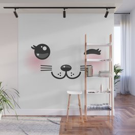 Kawaii funny cat with pink cheeks and winking eyes on white background Wall Mural
