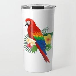 Tropical Macaw Floral Watercolor Travel Mug