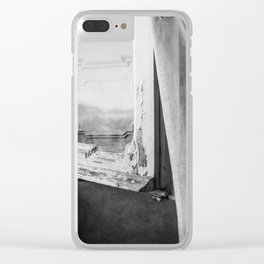 I am a visitor - A window in Tuscany Clear iPhone Case