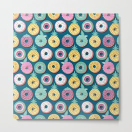Undercover donuts // turquoise background pastel colors fruit donuts Metal Print