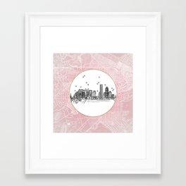 Boston, Massachusetts City Skyline Illustration Drawing Framed Art Print