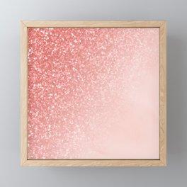 She Sparkles Deep Rose Gold Pastel Pink Luxe Geometric Framed Mini Art Print
