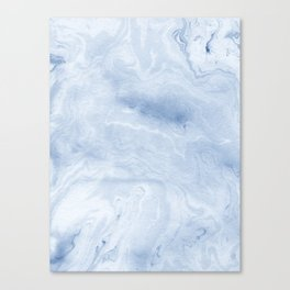 Yasuko - spilled ink japanese monoprint marble paper cell phone case with marble pattern blue pastel Canvas Print