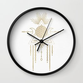 Golden Goddess Mandala Wall Clock