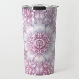 Dreams Mandala in Pink, Grey, Purple and White Travel Mug