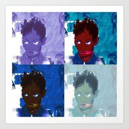 4 faces Art Print