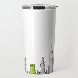 тhe city's rooftops painted with delicate flowers Travel Mug