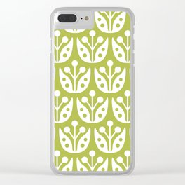 Mid Century Flower Pattern 5 Clear iPhone Case