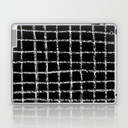 Black and white grid abstract minimal gridded pattern gifts basic nursery home decor Laptop & iPad Skin