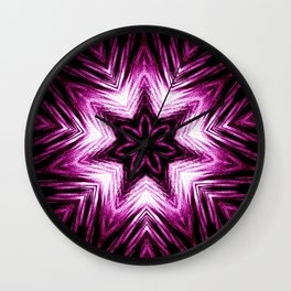 Bright Dark Violet Wine Red Abstract Blossom #purple #kaleidoscope Wall Clock