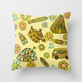 wanderlust // dream homes among the waves // surfy birdy art Throw Pillow