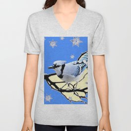 BLUE JAY DESIGN IN YELLOW-BLUE SNOWFLAKES ART Unisex V-Neck