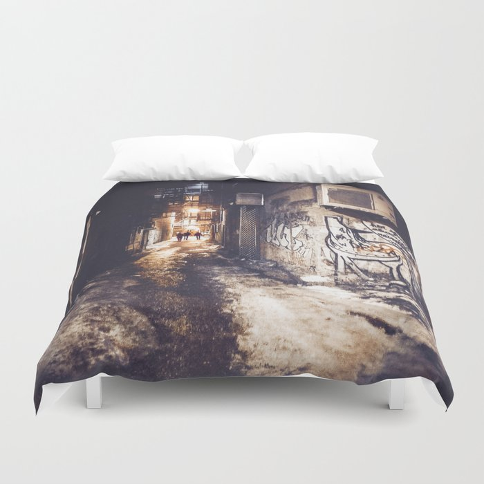 Lower East Side - Midnight Warmth on a Snowy Night Duvet Cover