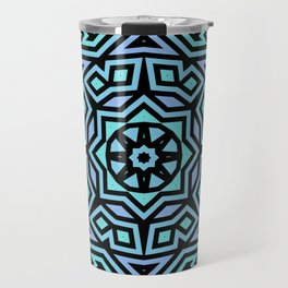 Aqua/Lilac/Black Tribal Pattern Travel Mug
