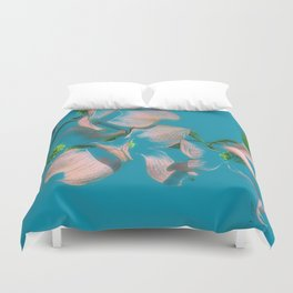 Dogwood Tree Flowers (aqua background) Duvet Cover