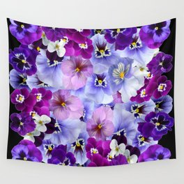 Pansy flowers wall tapestries society6 purple white pink pansy flowers black art wall tapestry mightylinksfo