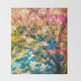 under the cherry tree Throw Blanket