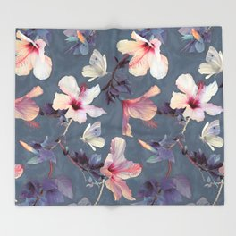 Butterflies and Hibiscus Flowers - a painted pattern Throw Blanket