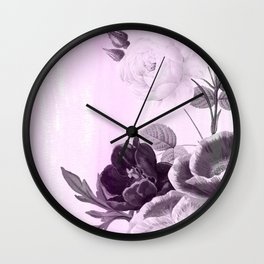 poenies in pink and purple Wall Clock
