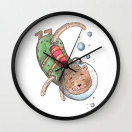 scuba cat Wall Clock